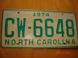 Picture of 1974 North Carolina Car #CW-6648