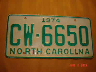 Picture of 1974 North Carolina Car #CW-6650