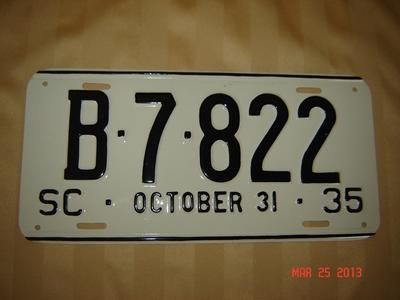 Picture of 1935 South Carolina Car #B-7-822