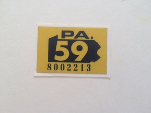 Picture of 1959 Pennsylvania Registration Sticker