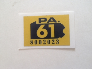 Picture of 1961 Pennsylvania Registration Sticker