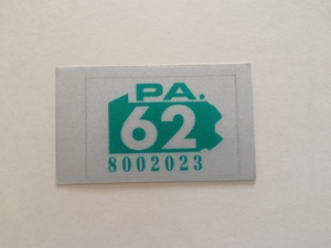 Picture of 1962 Pennsylvania Registration Sticker