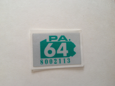 Picture of 1964 Pennsylvania Registration Sticker