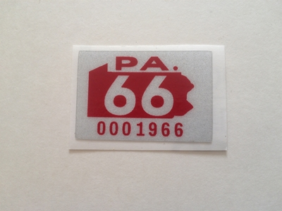 Picture of 1966 Pennsylvania Registration Sticker