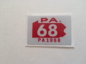 Picture of 1968 Pennsylvania Registration Sticker