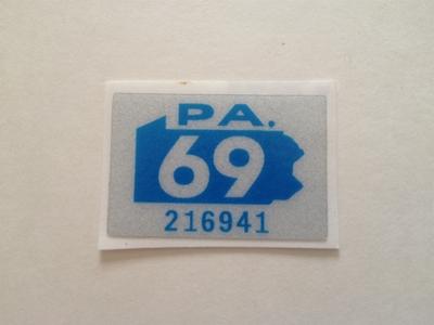 Picture of 1969 Pennsylvania Registration Sticker