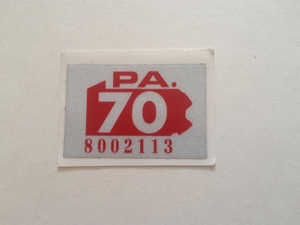 Picture of 1970 Pennsylvania Registration Sticker