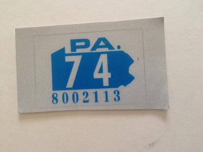 Picture of 1974 Pennsylvania Registration Sticker