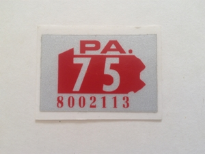 Picture of 1975 Pennsylvania Registration Sticker