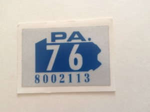 Picture of 1976 Pennsylvania Registration Sticker