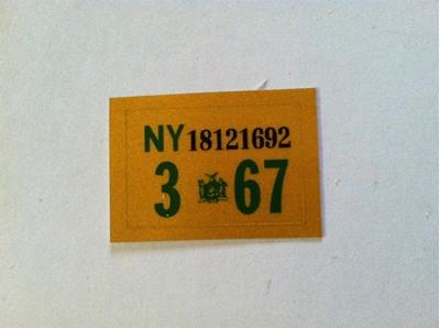 Picture of 1967 New York Registration Sticker