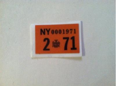 Picture of 1971 New York Registration Sticker