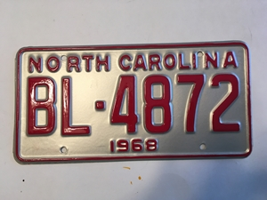 Picture of 1968 North Carolina Car #BL-4872