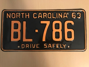 Picture of 1963 North Carolina Car #BL-786