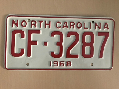 Picture of 1968 North Carolina Car #CF-3287