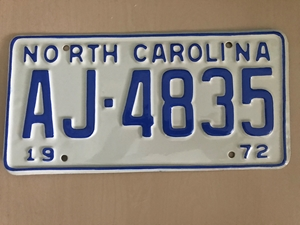 Picture of 1972 North Carolina Car #AJ-4835