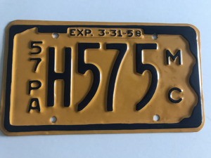 Picture of 1957 Pennsylvania Motorcycle Plate