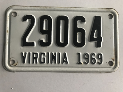 Picture of 1969 Virginia Motorcycle Plate #29064